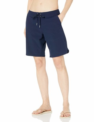 """Nautica Women's Solid 9"""" Core Stretch Boardshort with Adjustable Waistband Cord"""