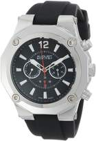 August Steiner Men's AS8080SS Swiss Multi-Function Silver-Tone Silicone Strap Watch