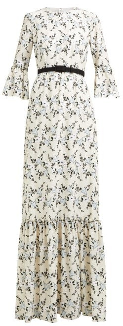 Erdem Senna Floral-embroidered Belted Gown - White Print