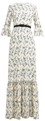Erdem Senna Floral Embroidered Belted Gown - Womens - White Print