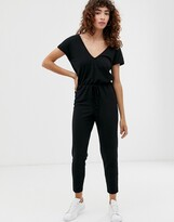 Asos DESIGN v neck lounge wear jumpsuit with tie waist