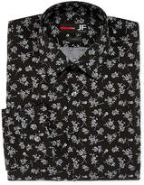 Jf J.Ferrar Easy-Care Stretch Long Sleeve Broadcloth Floral Dress Shirt - Slim