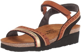 Naot Footwear Women's Beverly Sandal Black Velvet Hawaiian Brown Nubuck/Gold lthr 35 M EU (4 US)