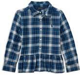 Ralph Lauren Girls' Ruffled Plaid Shirt - Little Kid