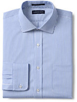 Classic Men's Tailored Fit Pattern Supima No Iron Pinpoint Spread Collar-White/Admiral Blue Stripe