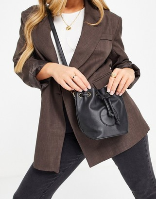 Truffle Collection across body bucket bag in black