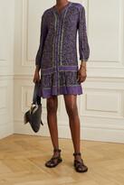 Thumbnail for your product : Veronica Beard Xanita Floral-print Crepe De Chine Mini Dress - Purple