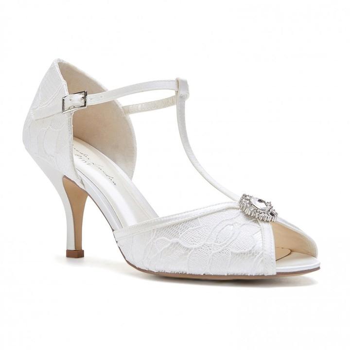 6e8a07e47fb Paradox London Charlotte Ivory Low Heel Satin & Lace T-Bar Sandals