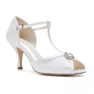 Paradox London Charlotte Ivory Low Heel Satin & Lace T-Bar Sandals