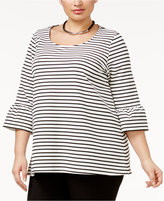 Alfani Plus Size Striped Ruffle-Sleeve Top, Only at Macy's