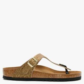 Birkenstock Gizeh Leopard Gold Birko-Flor Toe Post Sandals