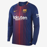 Nike 2017/18 FC Barcelona Stadium Home Men's Long Sleeve Soccer Jersey