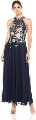 Cachet Women's Halter Gown with Embroiderd Bodice with a Full Skirt