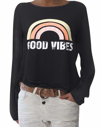 ZANZEA Women's Long Sleeve Baggy Plain Tops Sweatshirt Loose Round Neck T Shirt Blouses Tunic Tops Pullover Black Size XL/UK 18