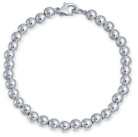 Bling Jewelry Round Ball Bead Strand Bracelet Shinny High 925 Sterling Silver 6MM