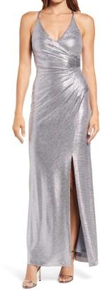 Eliza J Sleeveless Metallic Gown