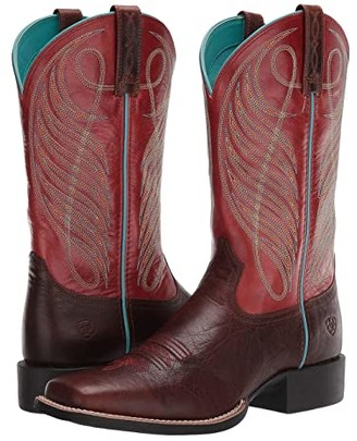 Ariat Round Up Wide Square Toe (Brown Patina/Brick Red) Cowboy Boots