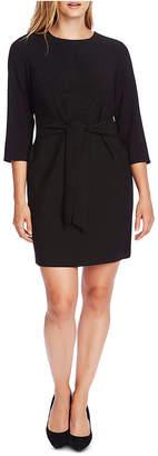 Vince Camuto Crepe Belt-Front Sheath Dress