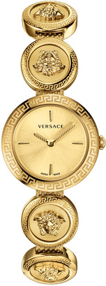 Versace 28mm Medusa Stud Icon Watch with Bracelet Strap, Yellow Gold