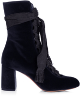 Chloé Harper lace-up velvet ankle boots