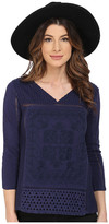 Lucky Brand Placed Embroidery Top