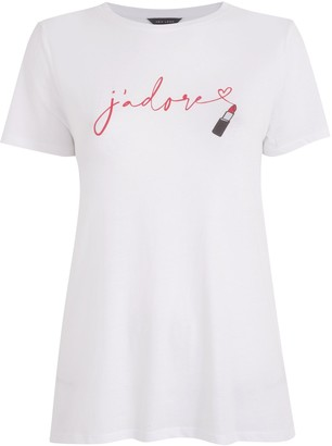 New Look Lipstick J'Adore Slogan T-Shirt