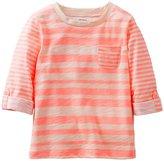 Carter's Striped Roll Cuff Top (Toddler/Kids) - Orange-4