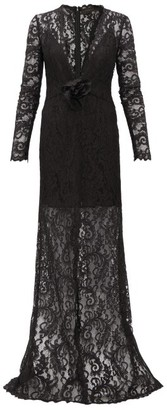 Dundas Plunge-neck Chantilly-lace Maxi Dress - Black
