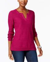 Karen Scott Split-Neck Cotton Sweater, Created for Macy's