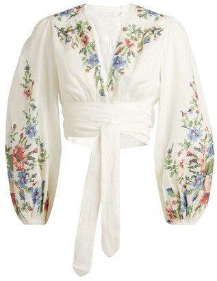 Zimmermann Juliette Floral Wrap-Around Blouse
