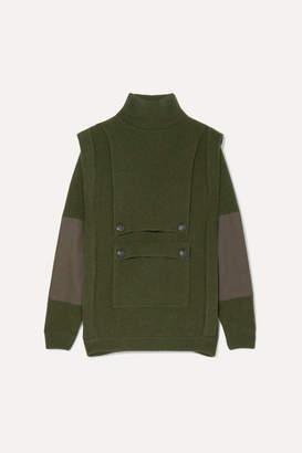 Stella McCartney Button-embellished Paneled Ribbed Wool Hoodie - Army green