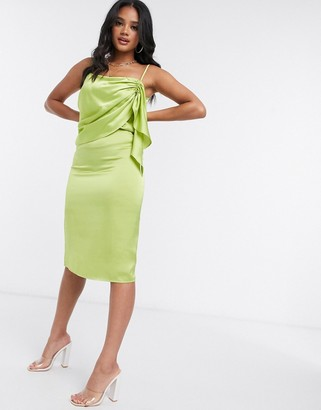 4th & Reckless midi cami dress with frill detail in lime green