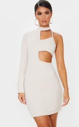 PrettyLittleThing Black High Neck One Shoulder Cut Out Bodycon Dress