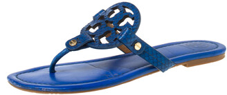 Tory Burch Blue Leather and Snakeskin Embossed Miller Flat Thong Sandals Size 37.5
