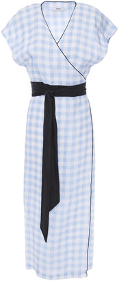 Marysia Swim Gingham Linen Midi Wrap Dress