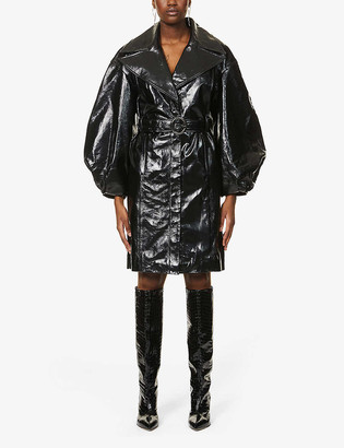 J Brand x Halpern balloon-sleeve leather coat
