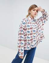 Sister Jane Blouse With Peplum Hem In All Over Pony Print