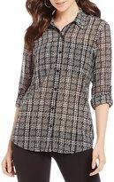 MICHAEL Michael Kors Tweed Haberdashery Print Georgette Roll-Sleeve Shirt