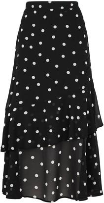 New Look Spot Print Frill Chiffon Midi Skirt