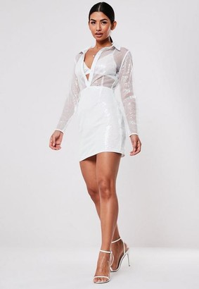 Missguided Sequin Bralet Insert Mini Dress Co Ord Set