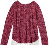 Mudd Girls 7-16 & Plus Size Marled Cable Knit Lace Hem Sweater