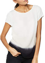 Mint Velvet Ombre Tie Back T-Shirt, Ivory/Ink