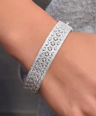 Swarovski Golden Moon Women's Bracelets Silver - Sterling Silver Geometric Bangle With Crystals