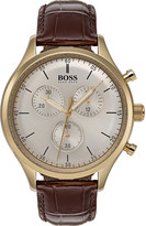 BOSS Companion leather and gold-plated stainless steel chronograph watch