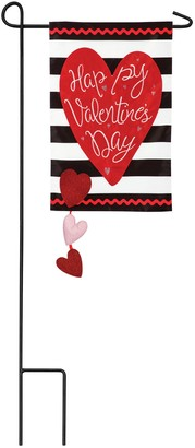 Evergreen Valentine's Day Stripe Applique Garden Flag