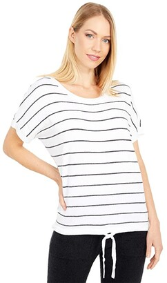 Barefoot Dreams Cozychic Ultra Lite Striped Pullover (Sea Salt/Carbon) Women's Clothing