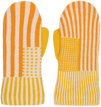 ERL Orange and Yellow Wool Striped Mittens