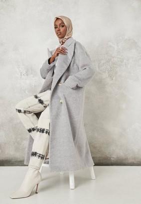 Missguided Gray Shawl Collar Oversized Maxi Coat