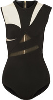Balmain Cutout Mesh-paneled Stretch-knit Bodysuit - Black