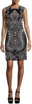 Michael Kors Sleeveless Embellished Sheath Dress, Black/Slate